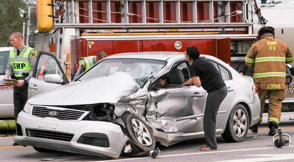 Bus, car collide; drivers hurt