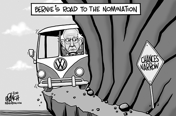 Editorial Cartoon: Bernie's Road
