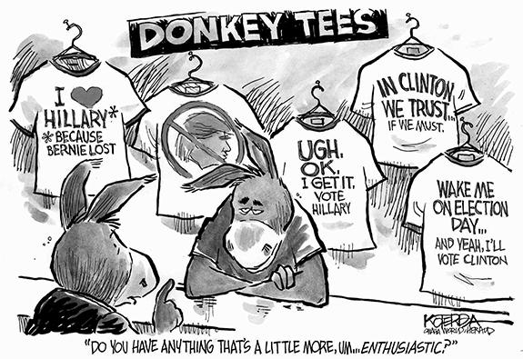 Editorial Cartoon: Clinton Tees