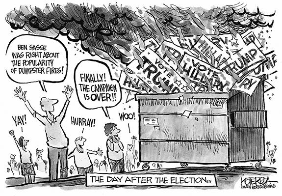 Editorial Cartoon: Dumpster Fire