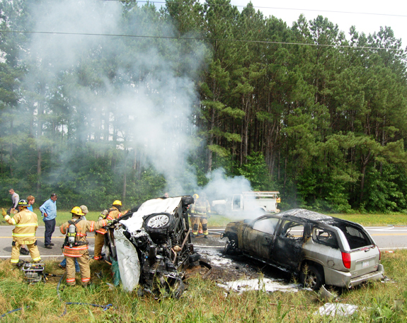 One critical after fiery U.S. 401 crash