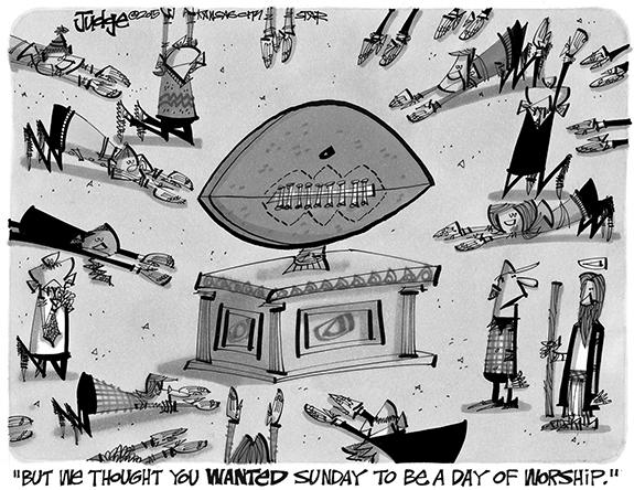 Editorial Cartoon: Football Worship