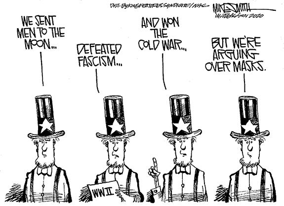 Editorial Cartoon: Mask Arguments