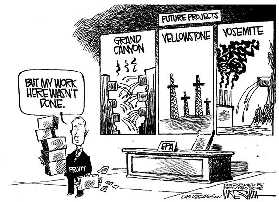 Editorial Cartoon: Pruitt Leaves