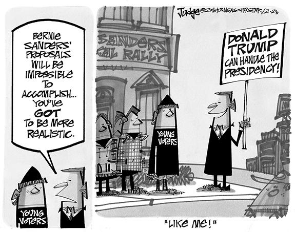 Editorial Cartoon: Trump/Sanders